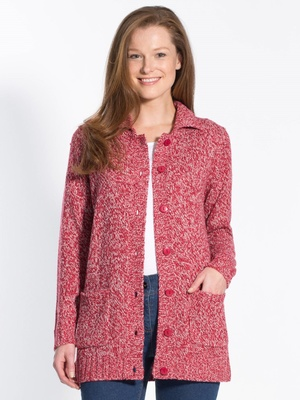 Cardigan chiné, col polo