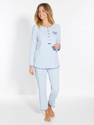 Pyjama manches longues, pur coton