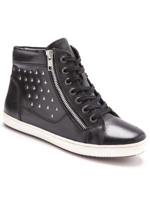 Sneakers montants cuir largeur confort.