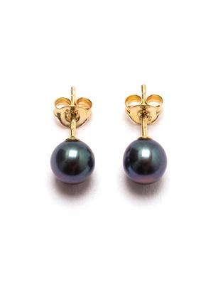 Puces d'oreilles perles culture noires